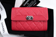 CHANEL 18C Light Red Caviar Boy Flap Wallet Silver Hw #24963788 *New