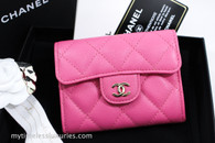 CHANEL 19C Bubblegum Pink Caviar XL Card Holder Back Pocket #27xxxxxx *New
