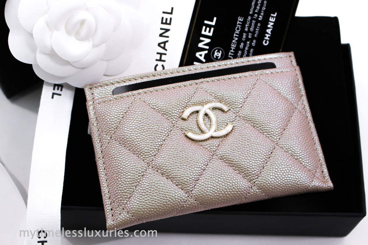 5f5177c2bda3 CHANEL 19S Beige Iridescent Caviar Flat Card Holder #27xxxxxx *New -  Timeless Luxuries