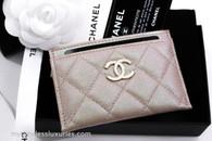 CHANEL 19S Beige Iridescent Caviar Flat Card Holder #27xxxxxx *New