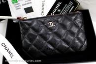 CHANEL 18S Black Caviar Mini O-Case Pouch Light Gold Hw #25885474 *New