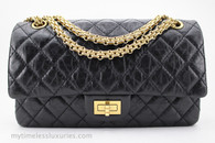 CHANEL Black Aged Calf 2.55 Reissue Flap Bag 225 Gold Hw #16618430