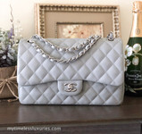 CHANEL 14B Grey Caviar Jumbo Double Flap Silver Hw #19908837 *New