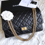 CHANEL Black Aged Calf 2.55 Reissue Flap Bag 226 Gold Hw #16874886