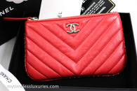 CHANEL 18A Light Red Studded Mini O-Case Silver Hw #26264960 *New
