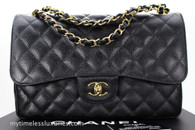 CHANEL Black Caviar Jumbo Classic Double Flap Gold Hw #16685076