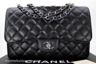 CHANEL Black Caviar Jumbo Classic Single Flap Silver Hw #14068665