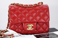 CHANEL 15B Lipstick Red Lambskin Square Mini Flap Bag Gold Hw #21196182