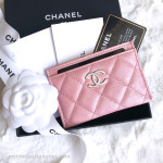 CHANEL 19S Iridescent Pink Flat Card Holder Pearly CC #278xxxxx *New