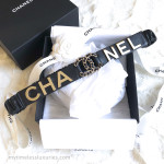 CHANEL 2019 19S Runway 'CHA NEL' Elasticated Leather Belt 75 *New