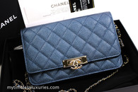 CHANEL 18S Pearly Dk Blue Caviar Golden Class WOC Wallet on Chain #25689094