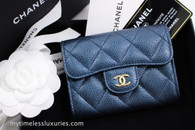 CHANEL 18S Pearly Dk Blue Caviar XL Card Holder Lt Gold Hw #25794418