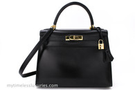 HERMES Kelly 28 Sellier Black Box Calfskin Gold Hardware with Strap
