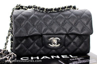 CHANEL Black Caviar Rectangle Mini Flap Bag Silver Hw #20180254