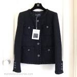 CHANEL 16A Paris Rome Fantasy Tweed Little Black Jacket 40/42 FR *New