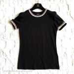 CHANEL 17A Metiers d'Art Paris Cosmopolite T-Shirt/ Top Tweed Trim Black 36 FR