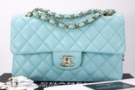 CHANEL 19C Tiffany Blue Caviar Small Classic Flap Lt Gold Hw #27xxxxxx *New