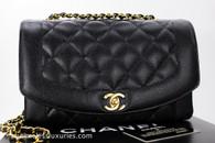 CHANEL Black Caviar 'Vintage Chic' Diana Flap Bag Gold Hw #3280211