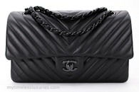 CHANEL 'So Black' Chevron Classic Double Flap Bag Black Hw #21022566
