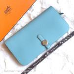 HERMES Dogon Recto-Verso Wallet in Bleu Atoll Swift Palladium Hw *New
