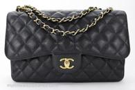 CHANEL Black Caviar Jumbo Classic Double Flap Gold Hw #15795637