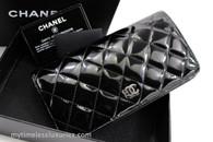 CHANEL Black Patent Classic Long Flap Wallet Hw Silver CC #14405802