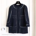 CHANEL 15S Silk Cotton Tweed Jacket Navy/ White 34 FR