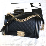 CHANEL 19C Black Caviar Boy Quilted Flap Bag Aged Gold Hw #27008721