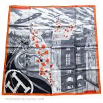 HERMES 'Space Shopping Au Faubourg' Silk Twill 90 Scarf Gris/ Noir/ Orange *New