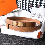 HERMES Kelly Belt Gold Epsom Calfskin Rose Gold Hardware *New