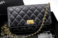 CHANEL Black Aged Calf 2.55 Reissue WOC Wallet on Chain #22244153