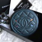 CHANEL 18B Iridescent Dk Turquoise Round Clutch on Chain #26605035 *New