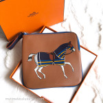 HERMES Carre Pocket Pouch Couverture Nouvel Gold/ Bleu Encre *New