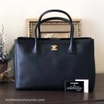 CHANEL Black Caviar Executive Cerf Tote Gold Hw w/ Strap #16242110 *New