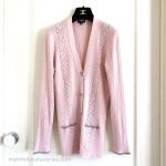 CHANEL 17C Coco Cuba Knit Cardigan w/ Tweed Trim Pink 38 FR