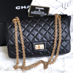 CHANEL Black Aged Calf 2.55 Reissue Flap Bag 225 Gold Hw #17464390
