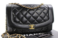 CHANEL Black Lambskin 'Vintage Chic' Diana Flap Bag Gold Hw #3060905