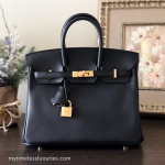 HERMES Birkin 25 Noir (Black) Veau Swift Gold Hw X/ 2016 *New