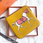 HERMES Carre Pocket Pouch Couverture Nouvel Jaune Ambre/ Rose Azalee *New