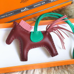 HERMES GriGri Rodeo PM Charm Rouge H/ Rose Indien/ Menthe