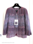 CHANEL 17P Fantasy Tweed Jacket 34 FR Red/ Blue/ White Yellow *New