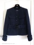 CHANEL 17B CC Belted Houndstooth Tweed Jacket 38 FR Navy/ Black