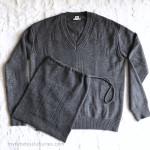 HERMES Prefall 2019 'Voyage' V-Neck Sweater 36 FR Grey Anthracite