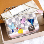 LOUIS VUITTON Damier Azur Mini Pochette Playing Birds #SF3188 *New