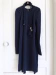 CHANEL 18C Cashmere Knit Dress with Embellished Belt Navy Blue 36 FR