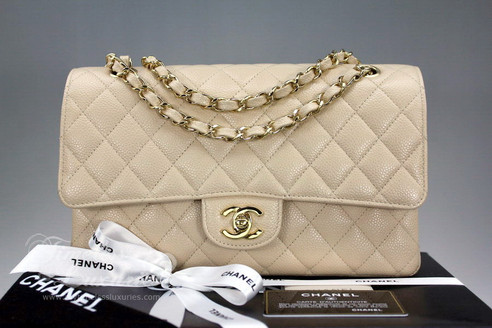 8cefd55959b4 ... CHANEL Beige Clair Caviar Classic Double Flap Bag Gold Hw #13466876 *New.  Image 1