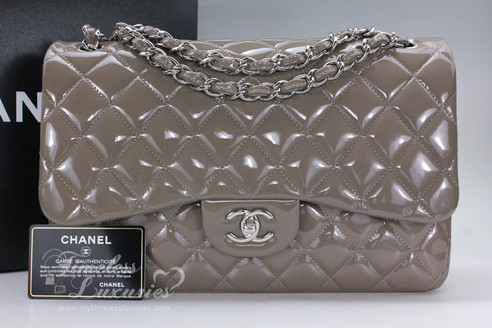 7cf6133c65e5 ... CHANEL Taupe Patent Jumbo Classic Double Flap Bag Silver Hw  15454731.  Image 1