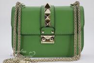 VALENTINO Green Leather Rockstud Glam Lock Small Shoulder Bag Gold Hw