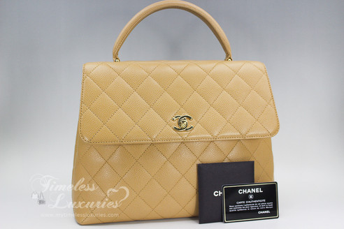 6aac276fcbef ... CHANEL Beige Caviar Quilted Jumbo Kelly Flap Bag Gold Hw #8876536.  Image 1