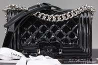 CHANEL Black Patent Leather Boy Small Flap Bag #20473089 *New*